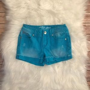 Justice Girls 8R Turquoise Distressed Jean Shorts